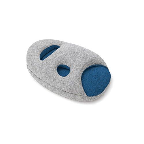 OSTRICHPILLOW Mini Das Reisekissen für Das Flugzeug, Auto, Nackenunterstützung für Das Fliegen, Kopfkissen für Das Power Nap, Reisebeleiter für Frau und Mann – erhältlich in Sleepy Blue
