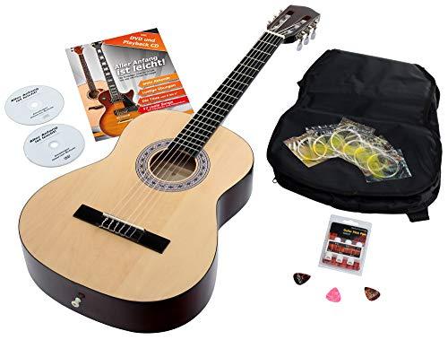 Calida Benita 7/8 Konzertgitarre Natur inkl. Zubehör (Akustikgitarre Set inkl. Gitarrentasche Rucksackgarnitur und Notenfach, Gitarrenschule mit CD & DVD, Stimmpfeife, Plektren, Ersatzsaiten)