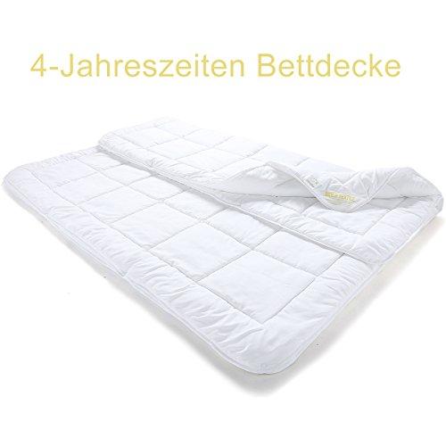 BEIER TEXTILE 4-Jahreszeiten Bettdecke Steppdecke Atmungsaktiv Microfaser Steppbett mit Druckknöpfen für Winter und Sommer 200x200