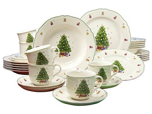 flirt geschirr weihnachten CreaTable, 16184, Serie TANNENBAUM Premium, Kombiservice 30-teilig