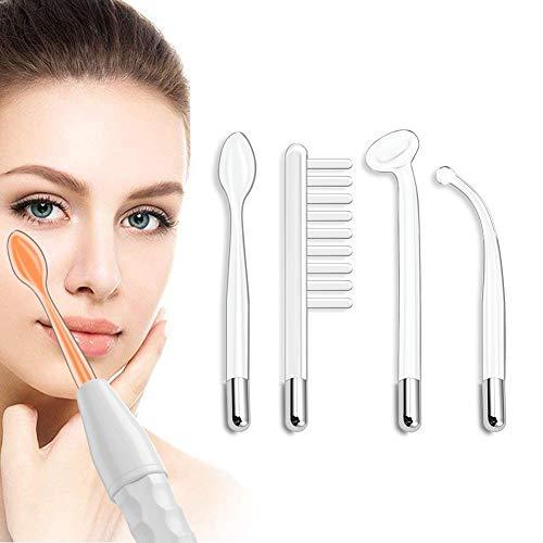Aozzy Portátil alta frecuencia faciale estetica limpiezas de dispositivos para quitar arrugas, acné y alopecia viene con 4 diferentes boquillas(naranja)