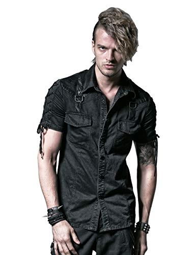 Herren Schwarz Gothic Punk Steampunk Baumwolle Lässige Button-Down Kurzarm Shirt M