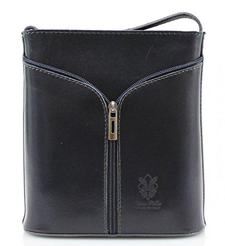 H&G Vera Pelle Mini italiana vera pelle Tracolla Handbag (grigio scuro)