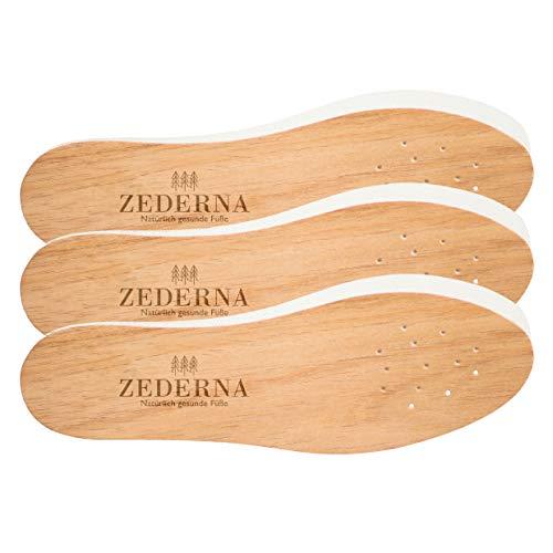 Zederna 3 Paar Zedernsohlen 100% natürliche & antibakterielle Zedernholzsohlen gegen Schweißfüße, Fußgeruch, Fußpilz, Nagelpilz. Größe 45 EU -