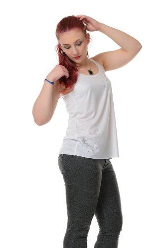 Feentaub Sommershirt Damen Top locker und luftig mit Aufdruck Feenstaub Elfe, Sommerkleidung Weiß Grau