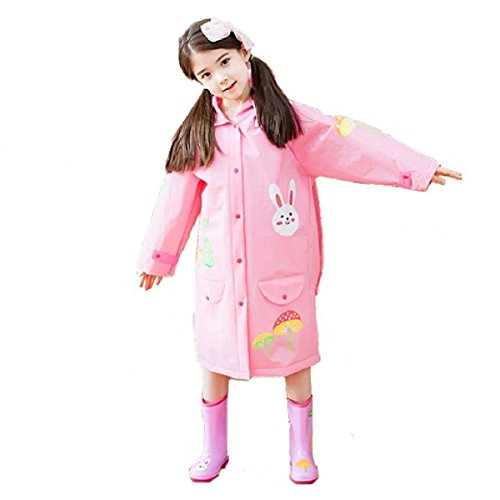 Triwonder Regenmantel Regen Cape Poncho für Kinder Mädchen Jungen Poncho Jacke Gear mit Rucksack Position Mädchen (M (7-10 Jahre alt), Rosa)