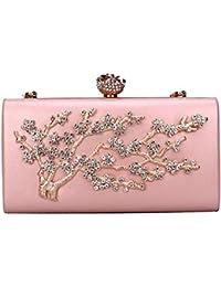 8c073fbd03793 Uiophjkl Damen Abendtasche Diamond Branch Abendtasche personalisierte  Muster Kette Tasche Abendkleid Clutch (Farbe   Rosa