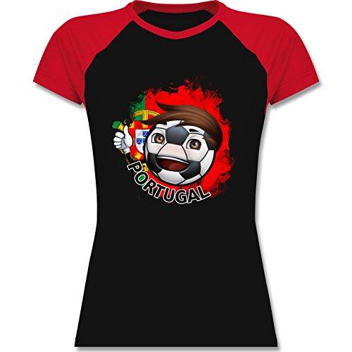 EM 2016 - Frankreich - Fußballjunge Portugal - zweifarbiges Baseballshirt / Raglan T-Shirt für Damen Schwarz/Rot