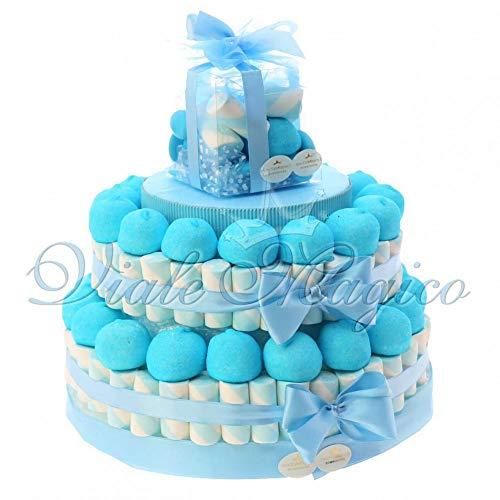 VialeMagico Torta Marshmallow Caramelle per Nascita Battesimo Bimbo 2 piani