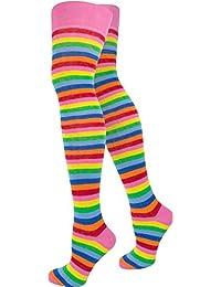 normani® Damen Overknees Über-Knie Strümpfe geringelt in verschiedenen Farben