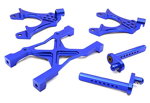 Integy RC Model Hop-ups OBM-BR233010BLUE CNC Machined Rear Chassis Brace, Shock Tower & Body Post Kit for Axial SCX-10 (Kit Post Brace)