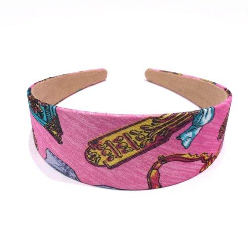 rougecaramel - accessoires cheveux - Serre tête/headband large imprimé - rose