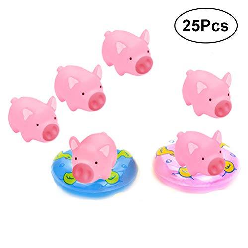 wannenspielzeug,20 Stücke Gummi Rosa Schwein Baby Badespielzeug mit 5 Mini Schwimmen Ringe ()