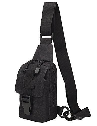Menschwear Borse Vintage Borsa a Spalla Piccolo Tasca di Tela Trekking Outdoor Borsello Chest Bag per Sport Tasche Viaggio Marsupio Militare Camuffare 1 Nero