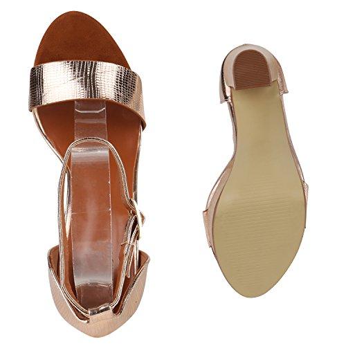 Damen Plateau Sandaletten   Peeptoes Party Schuhe   Pumps Blockabsatz High Heels  Satin Samt Strass Fransen Rose Gold Brooklyn