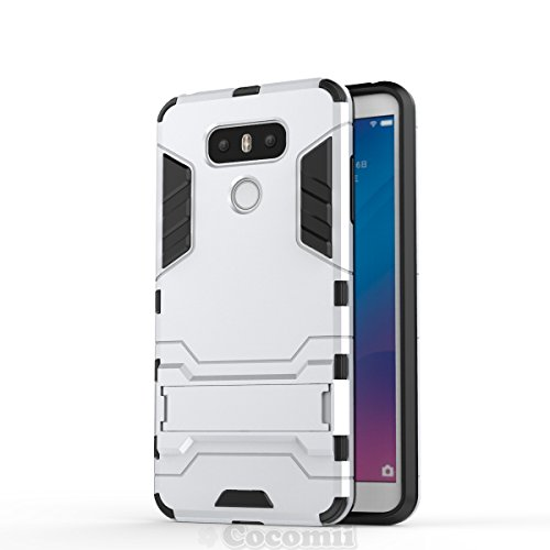 LG G6 Hülle, Cocomii Iron Man Armor NEW [Heavy Duty] Premium Tactical Grip Kickstand Shockproof Hard Bumper Shell [Military Defender] Full Body Dual Layer Rugged Cover Case SchutzhülleH870 H871 H872 H873 H870K LS993 US997 VS988 (Silver)