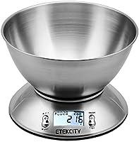 ETEKCITY Bilancia da Cucina Elettronica in Acciaio Inossidabile 5kg/11lb, Ciotola Mescolata, Timer Allarme, Indicatore Temperatura, Display Retroilluminato, Argento