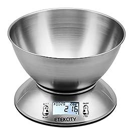 Bilancia Cucina Digitale, Etekcity Bilancia da Cucina Elettronica in Acciaio Inossidabile 5kg/ 11lb con Ciotola…