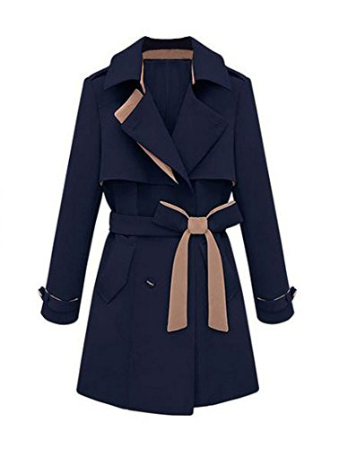 niceEshop(TM) Damen Winter Slim Jacke Mantel mit Gürtel Dunkelblau