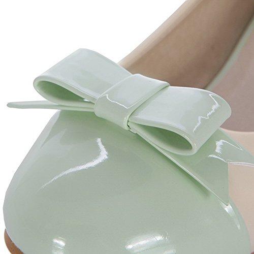 AgooLar Femme Rond à Talon Bas Verni Couleurs Mélangées Tire Chaussures Légeres Vert