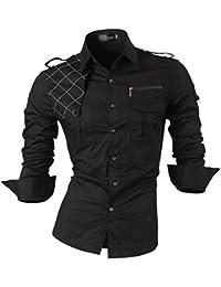 jeansian Homme Chemises Casual Shirt Tops Mode Men Slim Fit 8371