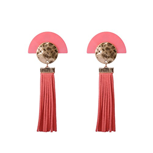 WKAIJCJ Earrings Girl Earrings Ladies Fringe Long Section Earrings Thread Spikes Semicircle Fan-shaped Stylish Resin Creative Temperament 4.5*11.0cm