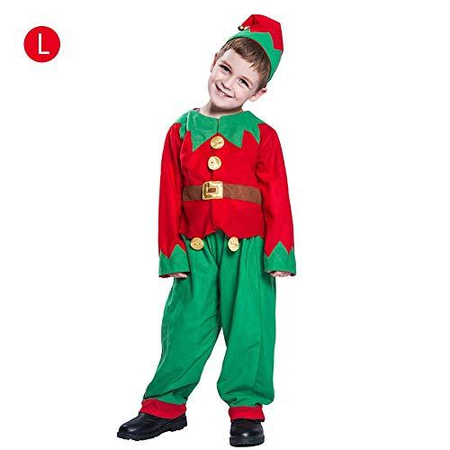 (Weihnachtskostüm für Kinder, Elfen-Kostüm, Party-Set mit Hut, Oberteil und Hose, tolles Weihnachtsgeschenk für Mädchen/Jungen)