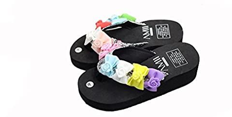 Beauqueen Lovely Girls Bow Tie Flip Flop Sandals main douce Seaside Beach Pantoufles Cake en vrac , 36 (pian xiaoyi)