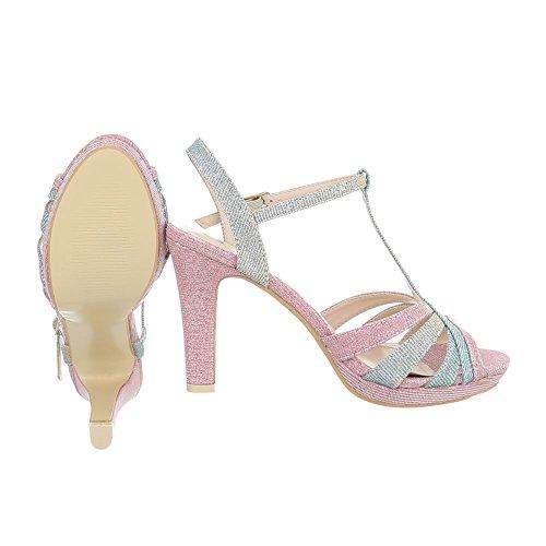 High Heel Sandaletten Damenschuhe High Heel Sandaletten Pfennig-/Stilettoabsatz High Heels Schnalle Ital-Design Sandalen & Sandaletten Blau Pink M235