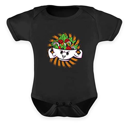 EBENBLATT Salat Vegan Vegetarisch Vegetarier Vegetarian Geschenk - Baby Body -6-12 Monate-Schwarz 12 Salat