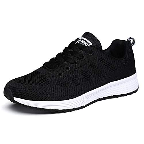 Baskets Running Homme Femme Sneakers Tennis Chaussure de Sport Mode Respirantes Multisport Outdoor Training (Noir 43 EU)