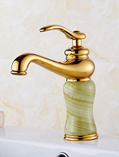 LSRHT Waschtischarmatur Wasserhahn Armatur Badezimmer Waschbecken Mischbatterie Kupfer Jade Becken ziehen Sie einzelne Bohrung Gold - Wasserhahn Badezimmer Einzelne Waschbecken