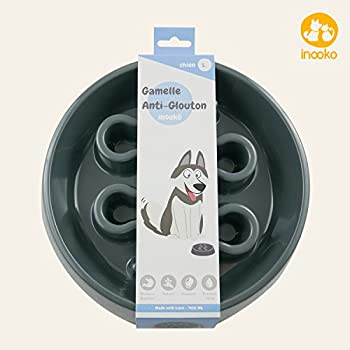 inooko - Gamelle Anti-glouton ronde pour chien de grande taille, Antidérapante, Gris