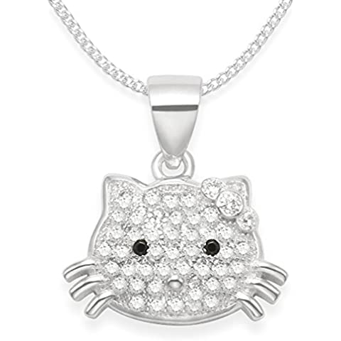 De los niños de plata de ley en forma de gato collar de cadena de plata - Zirconia cúbico y Plata collar Hello Kitty - Tamaño: 15 mm x 10 mm.