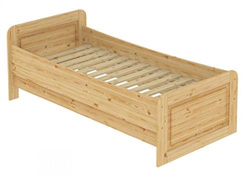 Erst-Holz® Seniorenbett extra hoch 100×200 Einzelbett Holzbett Massivholz Kiefer Bett mit Rollrost 60.42-10