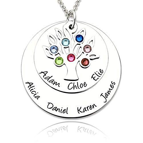 ♥ Stammbaum Kette mit Gravur ♥personalisierte namenskette Silber für mütter -Oma Geschenk - Benutzerdefinierte Kette mit bis zu 7 Namen & Geburtssteine - Geburtsstein Halskette, Charms Ring,