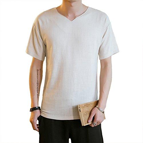 Honghu Herren Kurze Ärmel V-neck T-shirt Beige