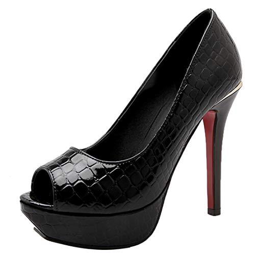 AIYOUMEI Damen Stiletto High Heels Plateau Pumps Lack Peeptoe Schuhe Party Schwarz 38.5 EU Black Patent Peep Toe Stiletto Pumps