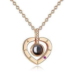 925 Sterling SilberIch Liebe Dich Halskette Für Frauen Love Memory Halsketten Anhänger Mit Projektion 100 Sprachen