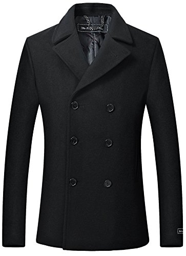 Herren schwarz Wolle & Cashmere Peacoat zweireihig Mantel warme Wintermantel (58) (Erbse Mäntel Herren)