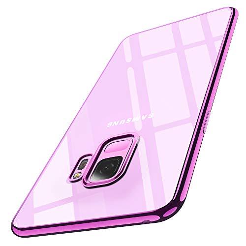 Joyguard Kompatibel mit Samsung Galaxy S9 Hülle Durchsichtig Weiche Silikon Plating Überzug TPU Handyhülle, Lila