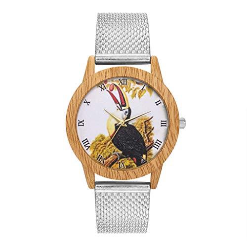 (Mitlfuny Unisex Männer Frauen Mode Armbanduhren 2019,Mode Natur Holzmaserung Freizeit Vogel Zifferblatt Silikonband Quarzuhr)