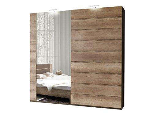 Schwebetürenschrank Miro 12 Modernes Kleiderschrank mit Spiegel, Garderobe, Schlafzimmerschrank, Schiebetür Schrank, Schlafzimmer-Set (250 cm/Canyon Eiche, mit Beleuchtung)