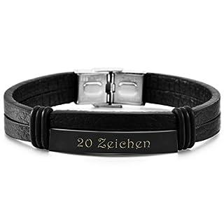 MeMeDIY Schwarz Edelstahl Leder Armband Armreifen - Kundenspezifische Gravur
