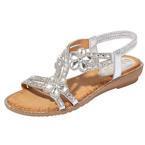 SHE.White Damen Sommer Flach Sandalen, Frauen Bohemian Strass Sandals Sommerschuhe PU Leder Elastischen Strand Schuhe -