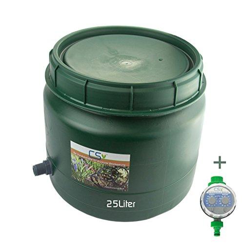 CS Drehdeckelfass 25 Liter Grün mit Tankdurchführung 3/4 Zoll und Bewässerungscomputer für die drucklose Bewässerung
