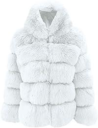 OSYARD Manteaux Femme Hiver Coat Fausse Fourrure Fox à Capuche Parka  Blousons Court Gilet Patchwork Cardigan 720a6bf467b1