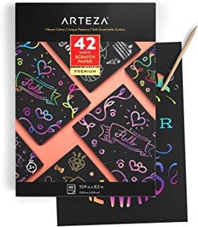 ARTEZA Scratch-Papier | 27,8 cm x 20,8 cm | Set mit 42 Blätter | Kunst-Set mit 4 Einzigartigen Mustern, 4 Kratzstiften, 4 Schablonen, 4 Postkarten | Kratzpapier für Bastelprojekte und Schulprojekte -