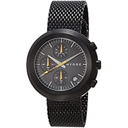 Hygge 2312 Unisex Quartz Watch with Black Dial Chronograph Display and Black Stainless Steel Plated Bracelet MSM2312BC(BK)