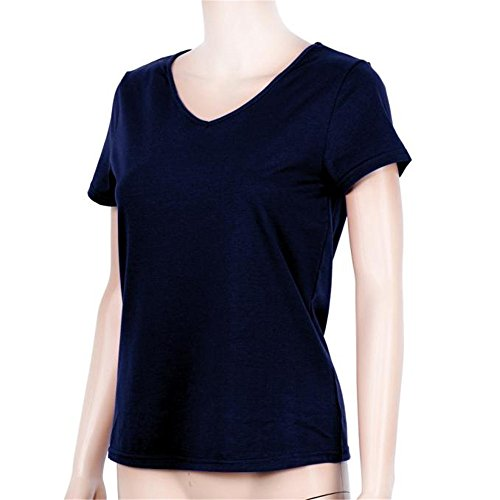 Femme Hauts d'été , Col en V Couleur Unie Manche Courte T-shirt Chemise Marine